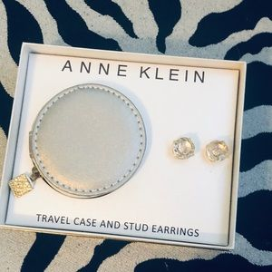 NWT Anne Klein earrings and travel case